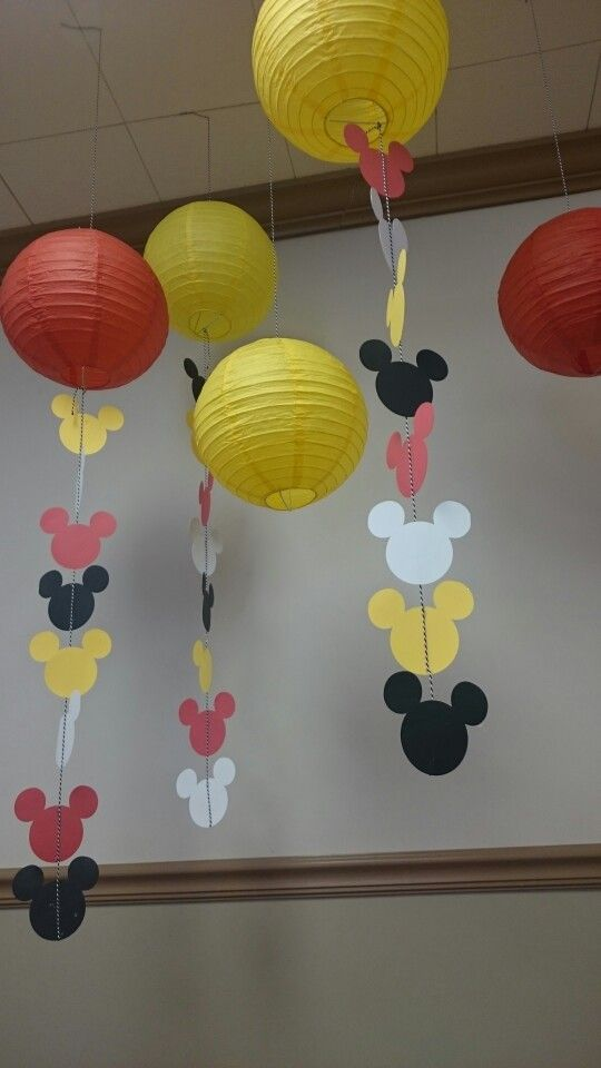 Paper Lanterns and Mickey Mouse streamers, using cricut More