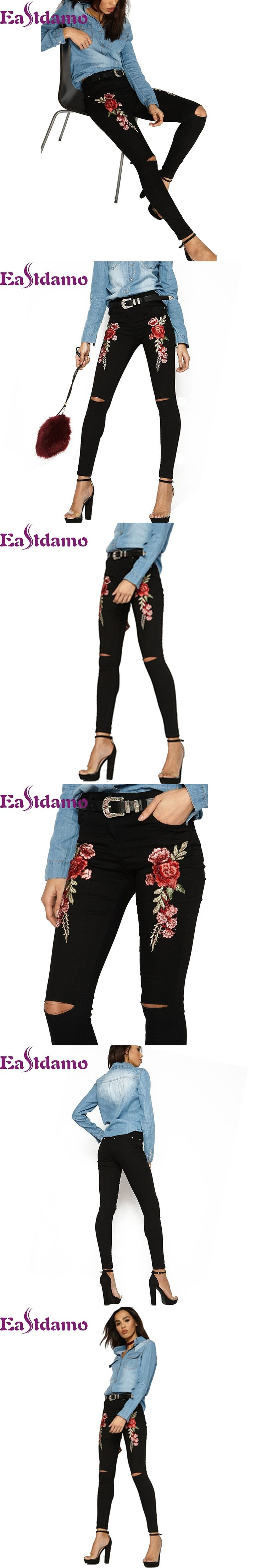 Eastdamo 2017 Black Embroidered Jeans for Women 3D Rose Embroidered High Waist Ripped Jeans Hole Sexy Slim Pencil Denim Pants