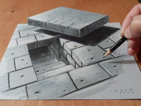 """Drawing dimensionTunnel Stairs. Trick art the Tunnel Stairs.<br />How to draw a realistic Tunnel Stairs. Mixed media.<br />Materials used: <br />Pastell paper: light gray.  <br />H graphit pencil (Derwent) <br />Markers: Letraset PROMARKER <br />Black and white charcoal pencil.<br />White gel pen.<br />Black Faber - Castell pen 0,7. <br />Soft eraser.<br />Music: By the Sword - Ethan Meixsell,<br />(Youtube Music Audio Library)<br /><a href=""""http://www.youtube.com/audiolibrary""""…"""