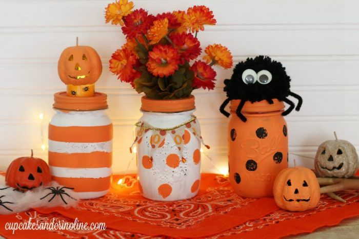 Halloween Mason Jars painted stripes and polka dots from…