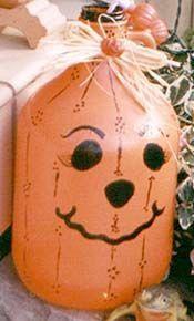 Jug-O-Lantern - Lighted Glass Jug Pumpkin Craft