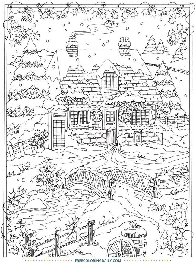Snowy Scene Free Coloring Page With Images Christmas