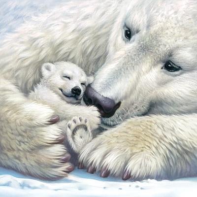 Polar Bear - mummy and cup - illustration by Anton Petrov