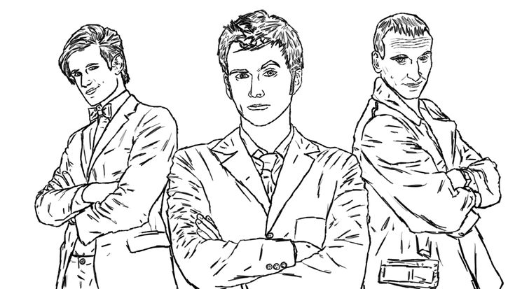 Doctor Who Coloring Page The Nine Ten Eleven
