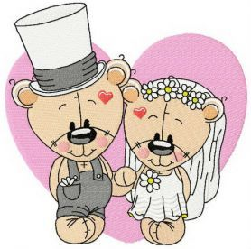 Plush bride and groom machine embroidery design. Machine embroidery design. www.embroideres.com