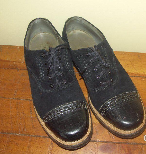 Vintage 40s 50s men's blue suede & leather lace up oxford shoes Cat's Paw  heel