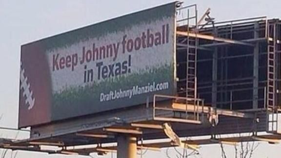 This would be the dumbest draft move since J. Russell to the Raiders at #1. Billboard asks Texans to draft Manziel No. 1