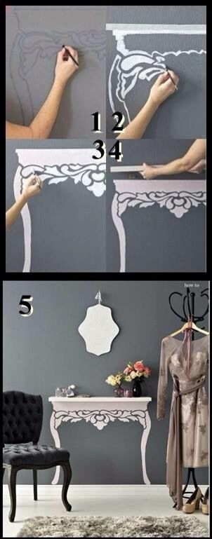 How cute!! Save Space with Stencils and a small shelf. #diy #home #decor