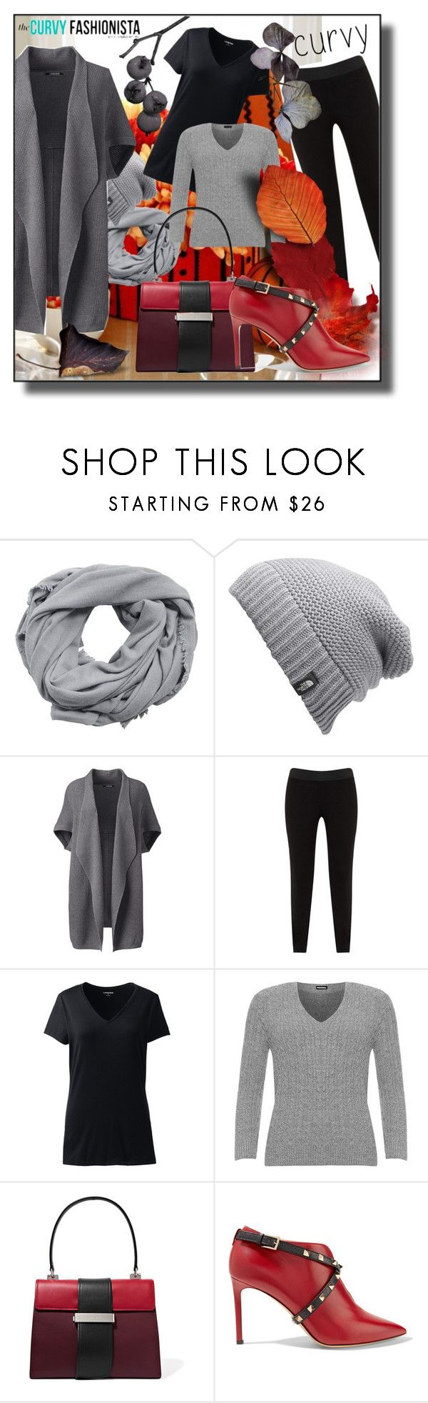 """Curvy Fall"" by kelly-floramoon-legg ❤ liked on Polyvore featuring MANGO, The North Face, Lands' End, JunaRose, WearAll, Prada, Valentino, autumn, plussize and plus size clothing"