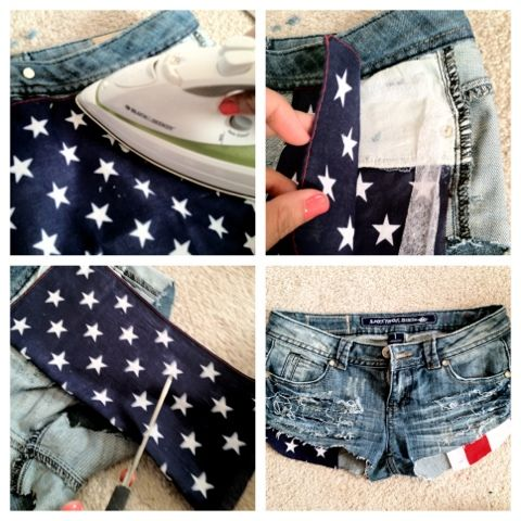 dare to be FABULOUS !: DIY distressed American flag pocket shorts