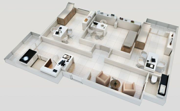 Planta isométrica - Junção 2 salas (finais 10 e 11). Consultório dermatológico.   http://planoeplano.com.br/imovel/time-center-campinas