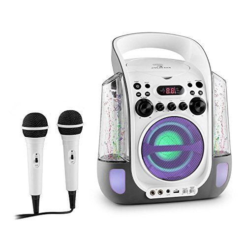 auna Kara Liquida Chaîne karaoke portable avec lecteur CD et MP3 (LED, 2 micros, port USB) – noir: Le auna Kara Liquida, Chaîne karaoke…