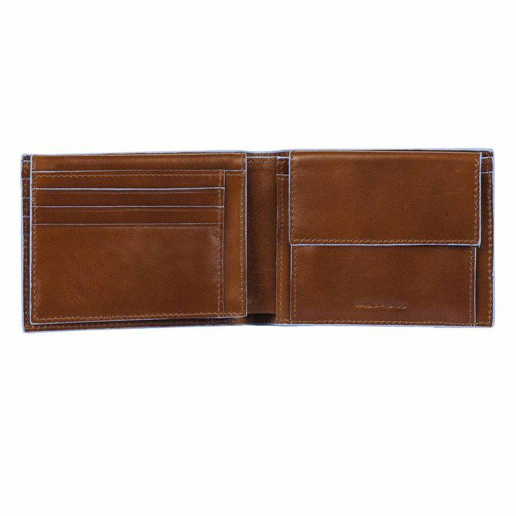 Piquadro Blue Square Herrenbrieftasche mit Portemonnaie, Kreditkartensteckfächern und Dokumentenfach orange