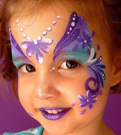 Purple glitterly fairy princess face paint www ...