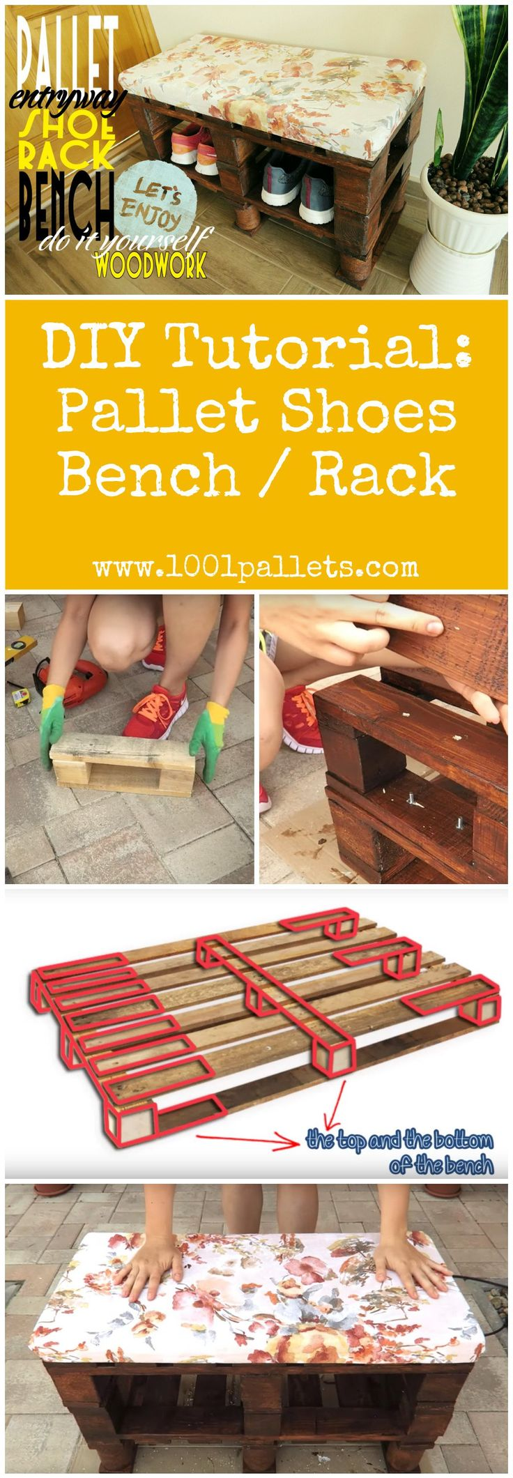"""#Diy, #Entrance, #PalletBench, #PalletShoesRack, #Tutorial    This tutorial by Bettina from """"PaintyCloud"""" will show you how to make an entrance shoes bench / rack out of two pallets.     3Pallets.   5Hours.   We evaluated this project as an easy difficulty project.  Available as aPDF File. T"""
