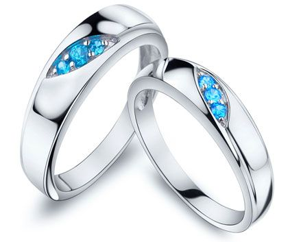 Matching Silver Couples Promise Rings Gifts Set with Three Blue Topaz Birthday Stones