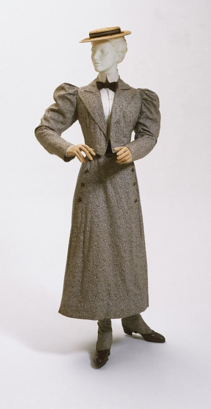 1896 Woman's Bicycling Ensemble: Jacket, Divided Skirt, Gaiters; Roller printed cotton plain weave; North America.