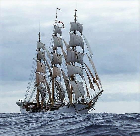 """The Danmark"" a 76-year-old tall ship."