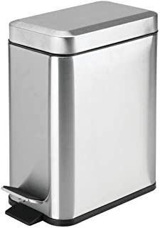 soft close lid, brushed stainless steel, rectangular trash