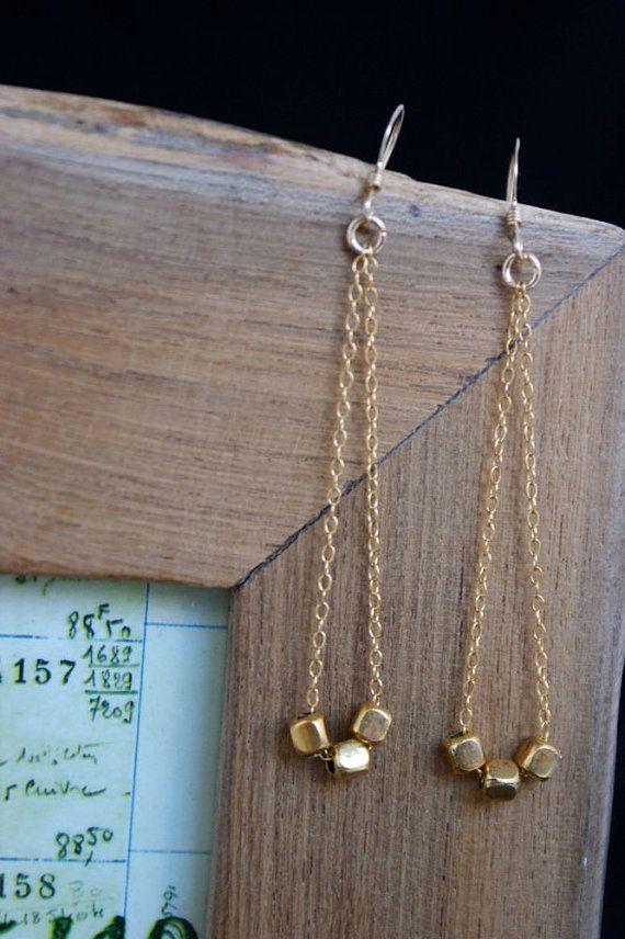 Gold Earrings, Dangle Earrings, Dainty Jewelry, Simple Modern, Three Wishes Earrings, Thin Gold Chain, Gifts Under 50