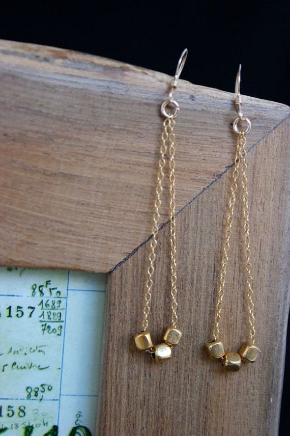 Gold Earrings Dangle Earrings Dainty Jewelry by wearpunctuation, $32.00 ETSY