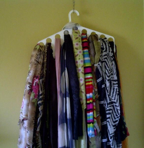 Scarves are so beautiful that they can hang behind a door, on a wall, or anywhere, and look great. #scarves