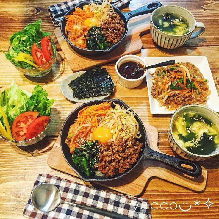 本日の晩御飯は旦那のリクエストで韓国料理になりました . . . 石焼ビビンバ 糸こんにゃくのチャプチェ わかめと玉子のスープ サラダ . . . 石焼ビビンバはスキレットで ごはんは白米と麦 . . チャプチェは糸こんにゃくでヘルシーに . . #晩御飯#晩ごはん#夕食#韓国料理#石焼ビビンバ#チャプチェ#糖質制限#低糖質#妊婦食#スキレット#dulton#手作り#おうちごはん#暮らし#日々#日々の暮らし#キナリノ#デリスタグラマー#instagood#foodpic#lowcarb#love#highprotein#organic#yummy by ytkuaaaaaaa