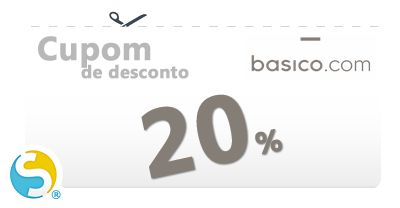 Cupom exclusivo Basico com desconto válido de 20% para todos os pedidos efetuados até a data de vencimento do código/voucher.