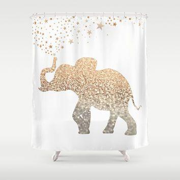 GATSBY ELEPHANT Shower Curtain by Monika Strigel