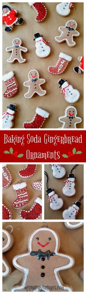 Baking Soda Gingerbread Dough Ornaments decorated with puff paint and glitter + $150 Amazon Giveaway! Great Christmas craft to do with kids.