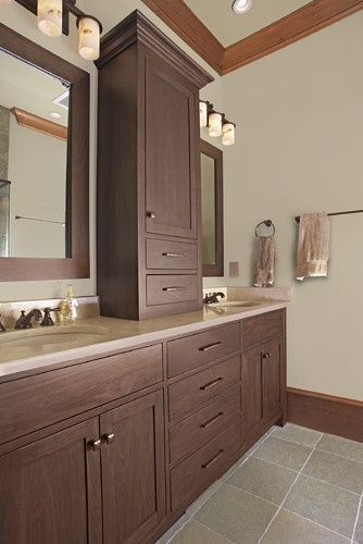 Double Vanity with Center Tower Double Sink Vanity