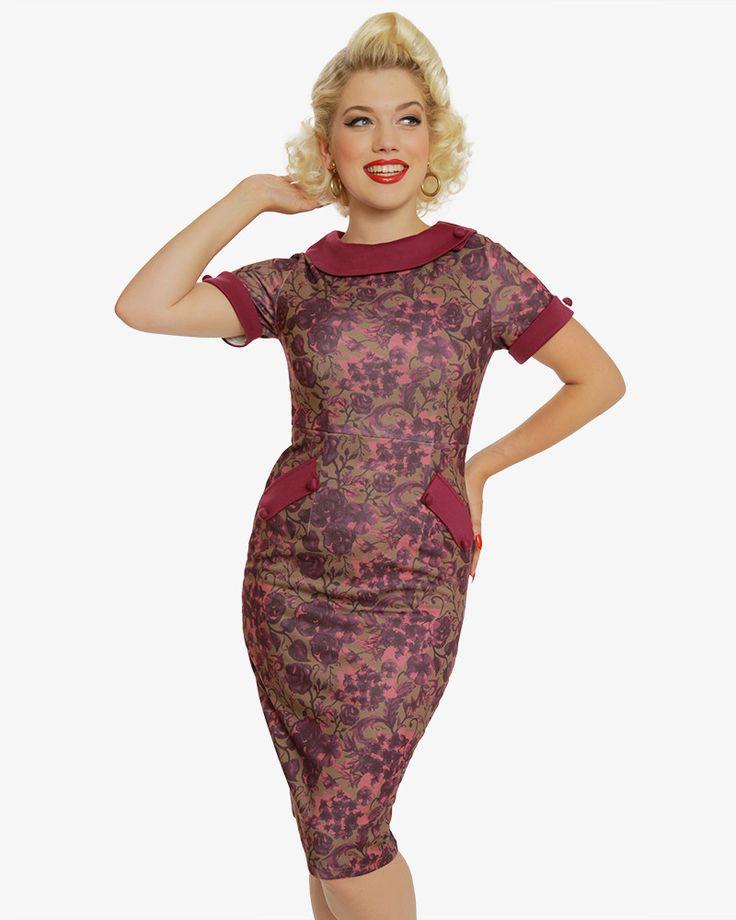 'Tiffany' 1950's Berry Floral Print Pencil Dress