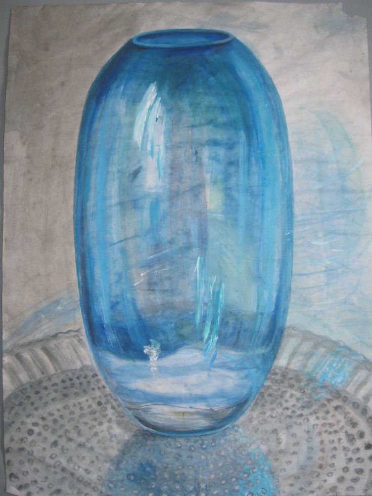 Blue glass pot Sketch watercolour ©Asta Rudminaite 2015