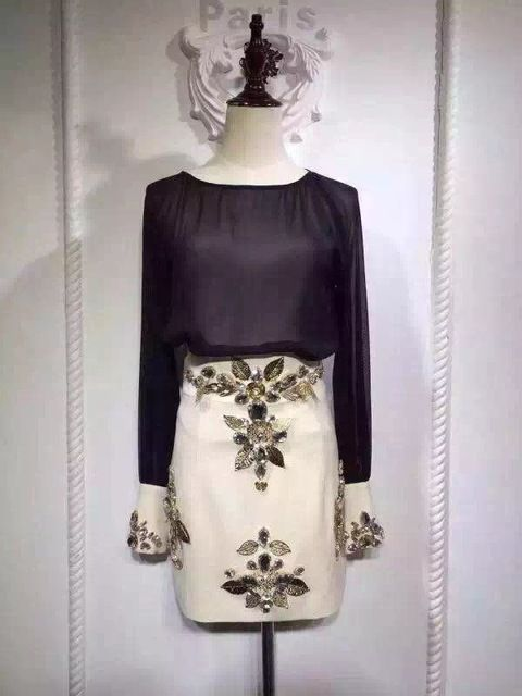 2016 New Women Chiffon Tops+Skirts Sets Handmade Diamond Beaded Skirt Suits Ladies Clothing Set Top Quality Clothes Wholesale US $53.97 To Buy Or See Another Product Click On This Link  http://goo.gl/yekAoR