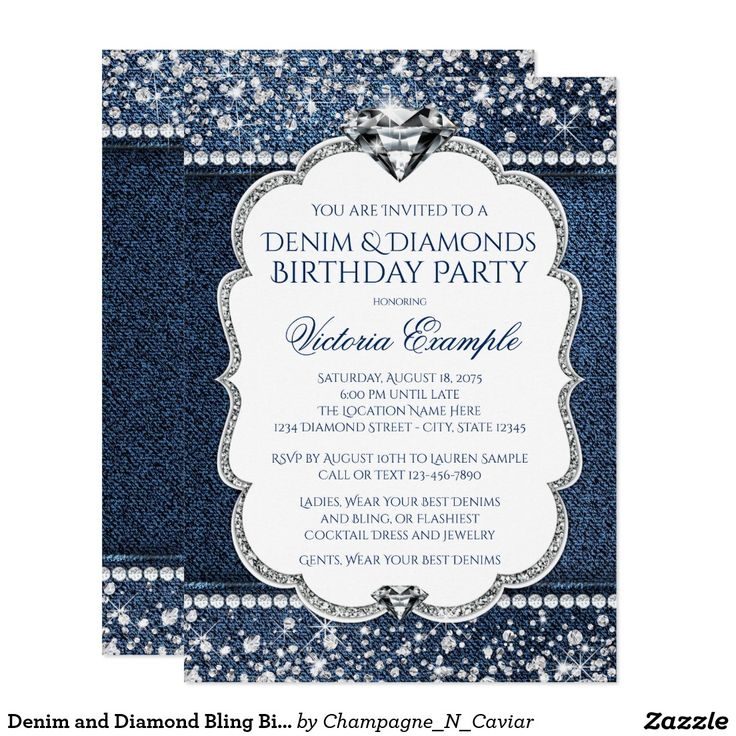 Best 25 zazzle invitations ideas on pinterest rustic invitation denim and diamond bling birthday party invitations stopboris Images