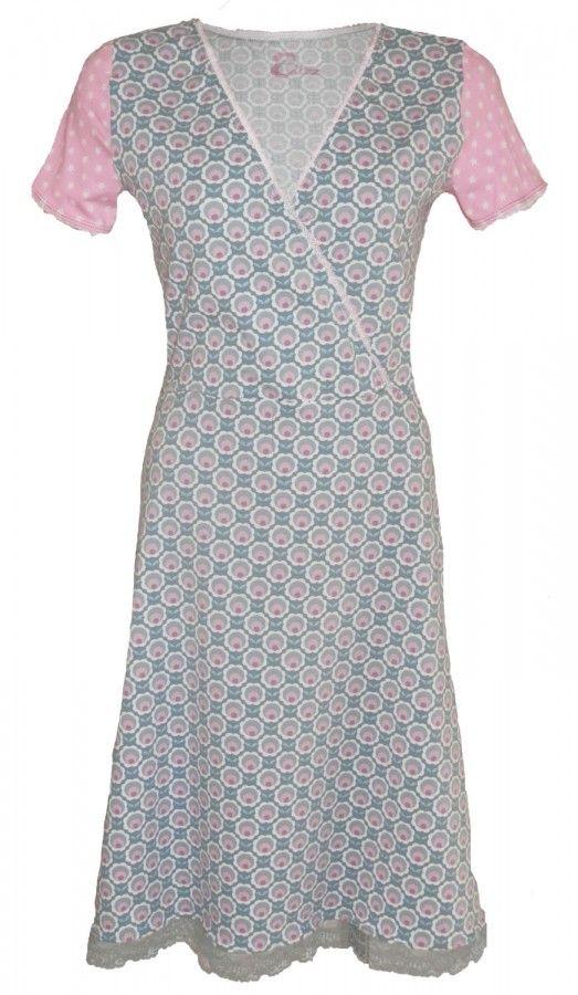 Cute- lichtgrijze jurk-cross-over jurk maat 34 t/m 56