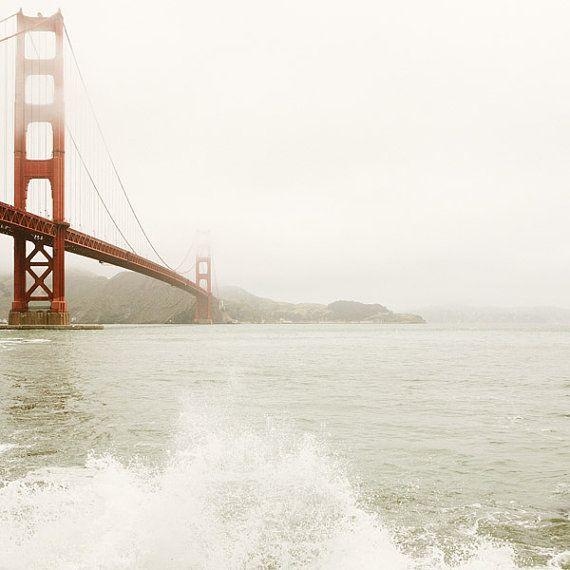 San Francisco Photograph, Golden Gate Bridge, California, Fog, Minimal, Travel Photography, Garnet Red, Winter White - Splash