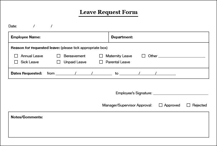 Simple Leaves Application Form Template Excel Template With Employee