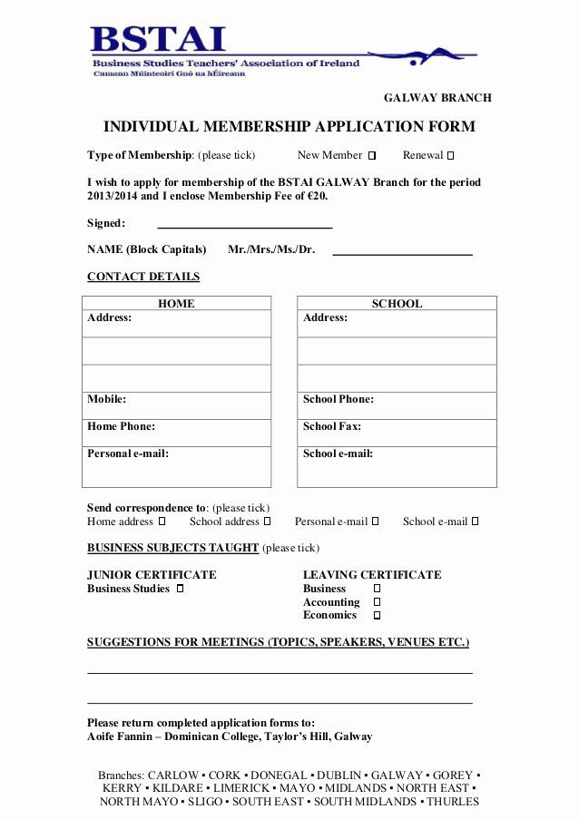 Membership Application Form Sample Unique Membership Application Form 2013 2014 Galway Professional Thank You Letter Document Templates Thank You Letter Sample