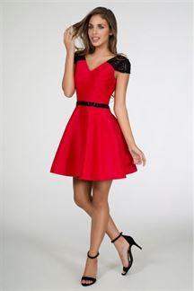 Vestido corto rojo con lentejuelas
