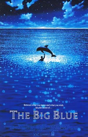 """The Big Blue — this film is a guilty pleasure for me. Embarrassingly overplayed by Rosanna Arquette, it's good she's not the main thing of the movie. Jean-Marc Barr is enigmatic, he was described well in one review as """"almost more dolphin than man;"""" Jean Reno is alternately hilarious and tragic, and, to the viewers and to the divers who go deep below with no oxygen tanks, the ocean is hypnotic."""