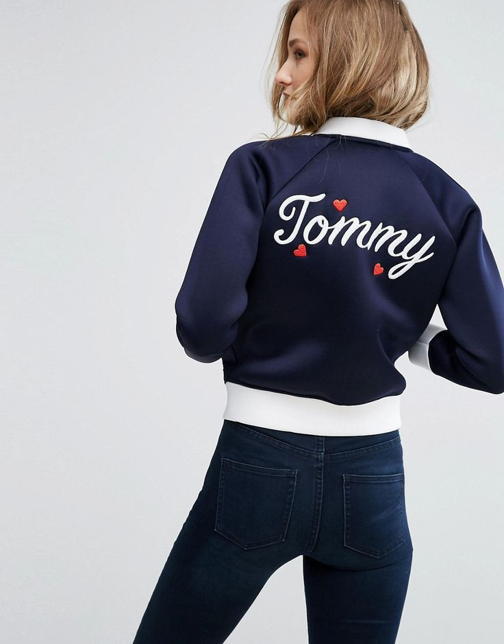 Buy it now. Tommy Hilfiger Contrast Bomber Jacket with Back Logo - Navy. Bomber jacket by Tommy Hilfiger, Smooth woven fabric, Baseball collar, Zip fastening, Raglan sleeves, Functional pockets, Contrast trims, Tommy Hilgifer logo, Regular fit - true to size, Machine wash, 80% Polyester, 20% Cotton, Our model wears a UK S/EU S/US XS and is 176cm/5'9.5 tall. ABOUT TOMMY HILFIGER Tommy Hilfiger is a global brand with a classic/cool American heritage. Think timeless, preppy Americana, updated…