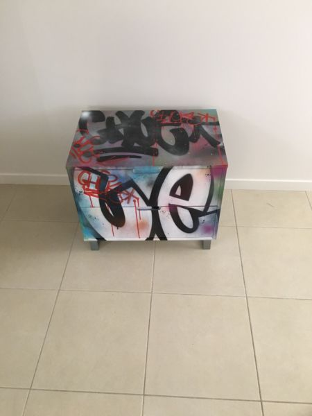 Custom graffiti 2 drawer side table Brand new table painted with aerosol paint For information or further questions please ask Pick up or delivery in Sydney ..., 1110180849