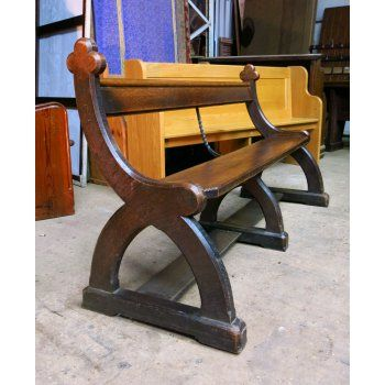 Battlefield Victorian Simple Gothic Oak Church Chapel Pew Bench