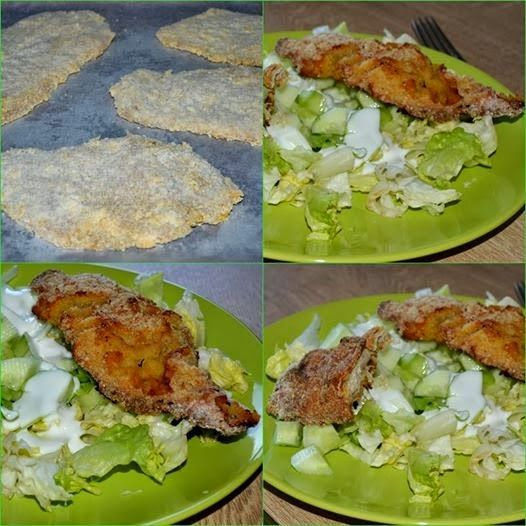 Sütőben sült gluténmentes rántott csirkemell uborkával, jégsalátával, kefirrelSütőben sült...