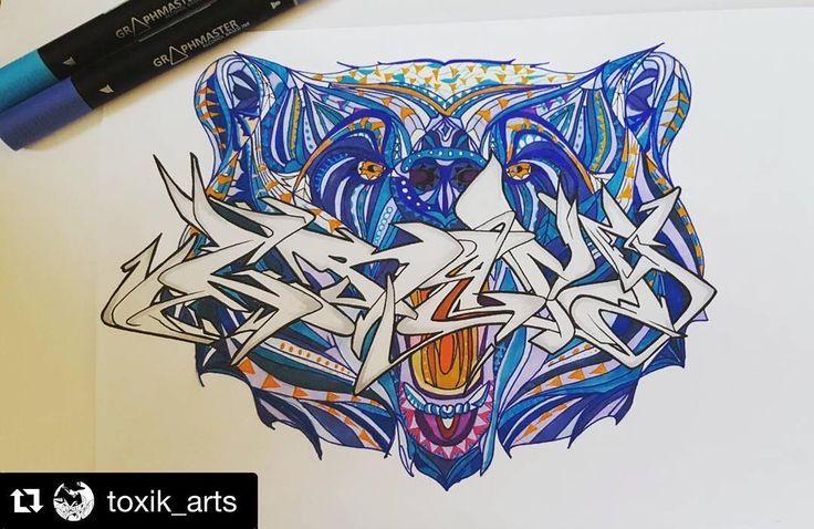 #Repost @toxik_arts - How do you like this awesome bear?   #graffiti #graphmaster #graph #sketch #bär #berlin #graffitiporn #dailysketch #bear #drawing