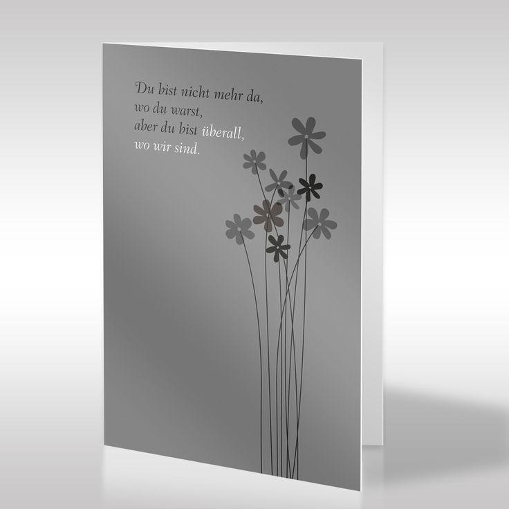 Diese verspielte, religionsfreie Trauerkarte, die durch ihre geschmackvolle Farbkombination besticht, zeigt einen schönen Trauerspruch neben einigen stilisierten kleinen Blümchen. Das mittlere Grau der Trauerkarte gibt der gesamten Gestaltung eine vornehme Anmut. Durch die kleinen Blümchen in Zartgrau bis Tiefschwarz bekommt dieser verspielte Charakter der Blumen die angemessene Optik einer Trauerkarte. https://www.design-trauerkarten.de/produkt/blumenfuelle/