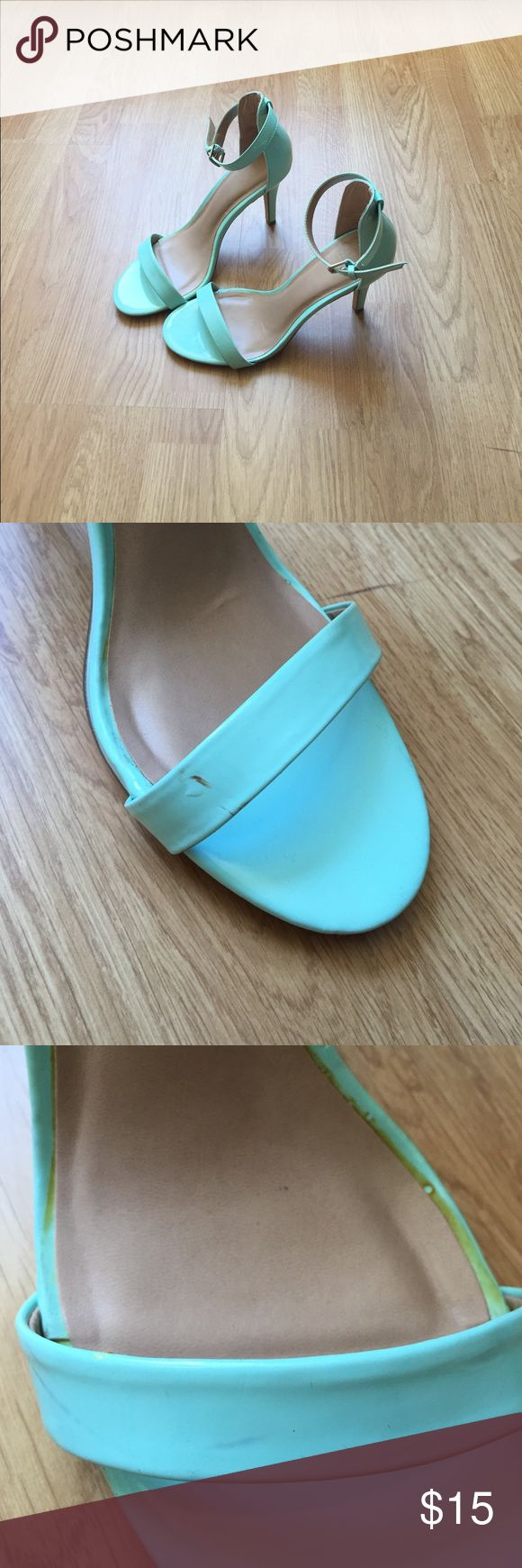 Mix No. 6 Turquoise Sandals!! Mix No. 6 Turquoise Sandal Heels!! Very cute, very comfy, only worn once!! Priced low because of a few scuffs on the front, and discoloration from under the foot pad. Mix No. 6 Shoes Heels