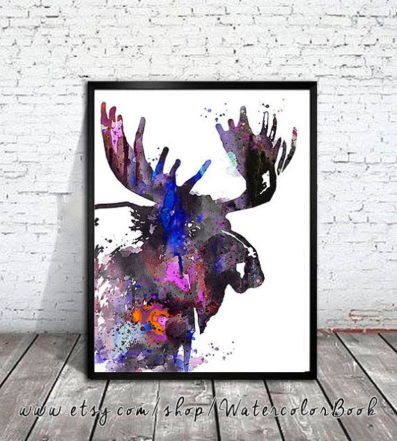 Moose 8 Watercolor Print moose art watercolor by WatercolorBook