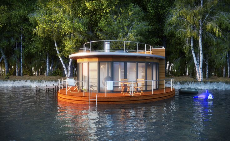 There are houseboat designs, and there are houseboat designs. Forget about the square standard shape of a house with this particular Nautilus design: it's a 2-story round tower instead, with...